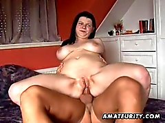 Busty amateur girlfriend anal action with cumshot