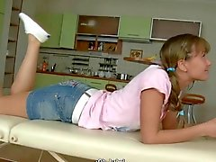 Teen tied and gagged then fucked on a table