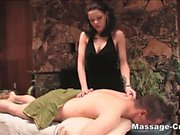 Skinny brunette blowjob and massage
