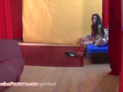 Gipsy teen masturbates her pussy at the CASTING