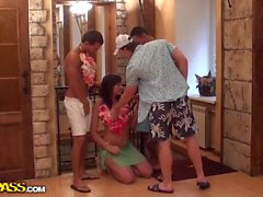 Group sex with the girl on a Hawaiian party xxx
