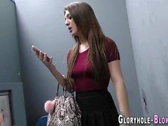 Gloryhole teen gives head