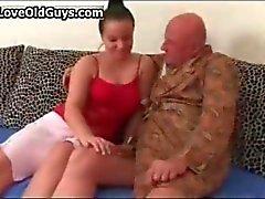 Old man gets his hard cock sucked hard