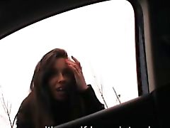 Stranded teen Gina Devine banged and jizzed in the backseat