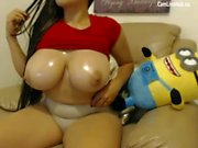 hot cuvry teen with gigantic boobs masturbation on cam p two