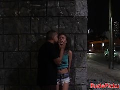 Teen beauty stranded and screwed from behind