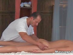 Blonde mommy wants to satisfy her masseur and gives him a head at first and then spreads her legs