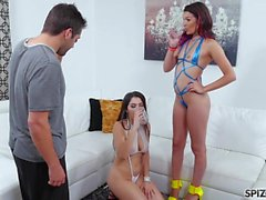 Spizoo - Valentina Nappi and Eden Sin jump on the PA's cock