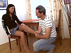 old man young girl - Ann with sprained ankle