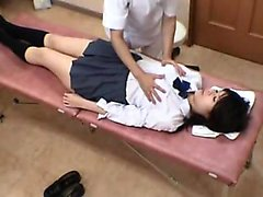 Schoolgirl gets an exam and the doctor plays with her whole