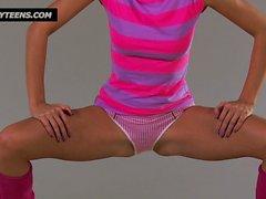 Beautiful flexy teen in pink panties