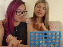 2 Teens Russian vs Vietnamese asian pornstars play Connect Four