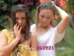 Beautiful teenagers in the rain