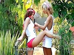 Ultra sensual sapphic licking in garden
