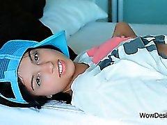 Busty sex bomb Inez pleasuring her snatch in bed
