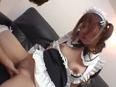 Babe in maids costume touches herself whilst giving a blowjob