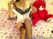 Cute hairy asian plays with herself for the camera