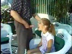 Tiny teen Melanie Rios by pool