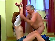 Young beauty enjoys old hard rod entering her pussy
