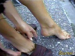 German teen feet tug cock