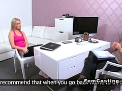 Blonde teen lick female agent in casting