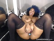 Stunning Ebony Slut Puts On A Solo Show With Toys