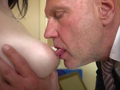Busty young wife asks old doctor to give her bigger boobs then fuck hard