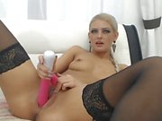 Most Gorgeous Blonde On a Cam SHow Fucking Herself With Pink