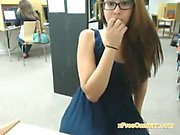 Teen with glasses in library strips and plays with her pussy
