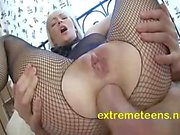 Russian Teen In Body Stocking Takes It Deep In Her Ass