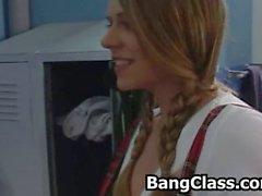 Girl suprised by her gym teacher masturbating in the lockeroom