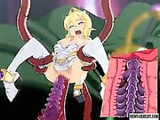 Blonde hentai girl gets fucked by monsters and tentacles