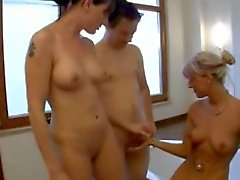 German MILF and younger brunette fucked in the bathtube