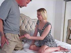 Dad drills Sophie Sativas pussy sideway