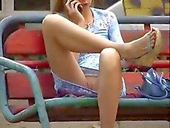 No panties upskirt - girl at park