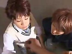 Beautiful Japanese teens working their luscious lips on a s