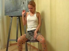 Blueeyed teen in pantyhose