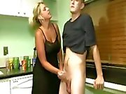 Horny milf loves handjobs with young hard cock to tug
