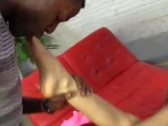 Smoking hot teen Avril Sun does crazy interracial footjob