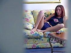 Voyeur clip of masturbating redhead