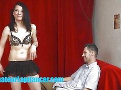 Alluring babe lap dancing