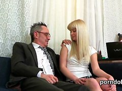 Sultry bookworm gets seduced and penetrated by her elderly t