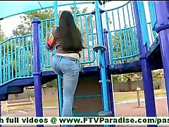 Nadine hot innocent brunette with long hair flashing tits and pussy and ass in public