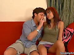 Sex starved Teen Ruby Knox does it on the couch