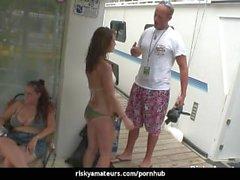 Slutty girls next door dancing dirty on a boat