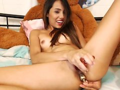 Brunette teen loves to masturbate