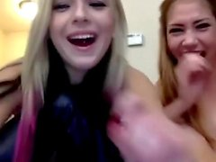 Two gorgeous teen girls masturbates and get throatfucked by fuck machine