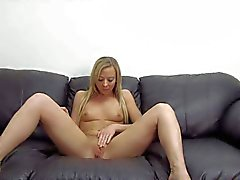 Natural blonde Teen stretches her sweet hairless pussy at interview