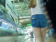 Teen Action In skin Tight Jean Shorts