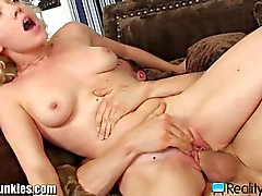Sweet babe getting fucked hard on couch